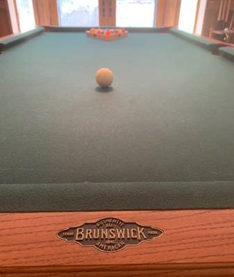 Brunswick Pool Table with Cues and Brushes